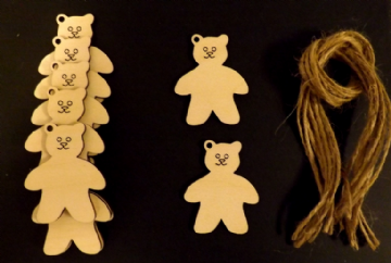 Teddy Bear Gift Tags Xmas Decoration 65mm Pack of 10
